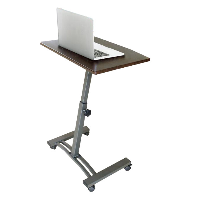 High quality cheap Height Adjustable Walnut Laptop Computer Desk with Casters  manufacture