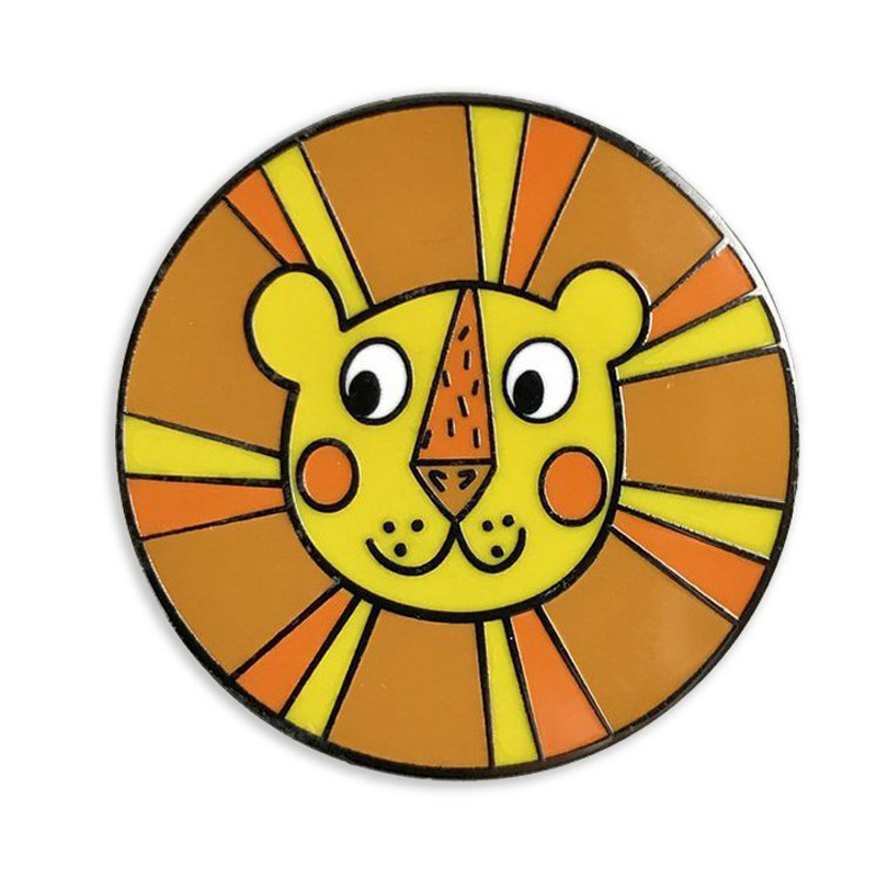 Lion Round Hard Enamel Pins
