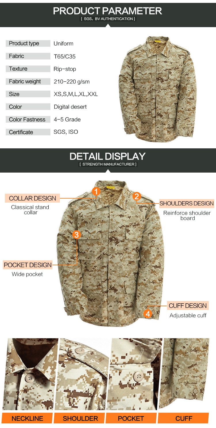 Wholesale T/C 65/35 Military Camouflage Battle Dress Uniform Bdu