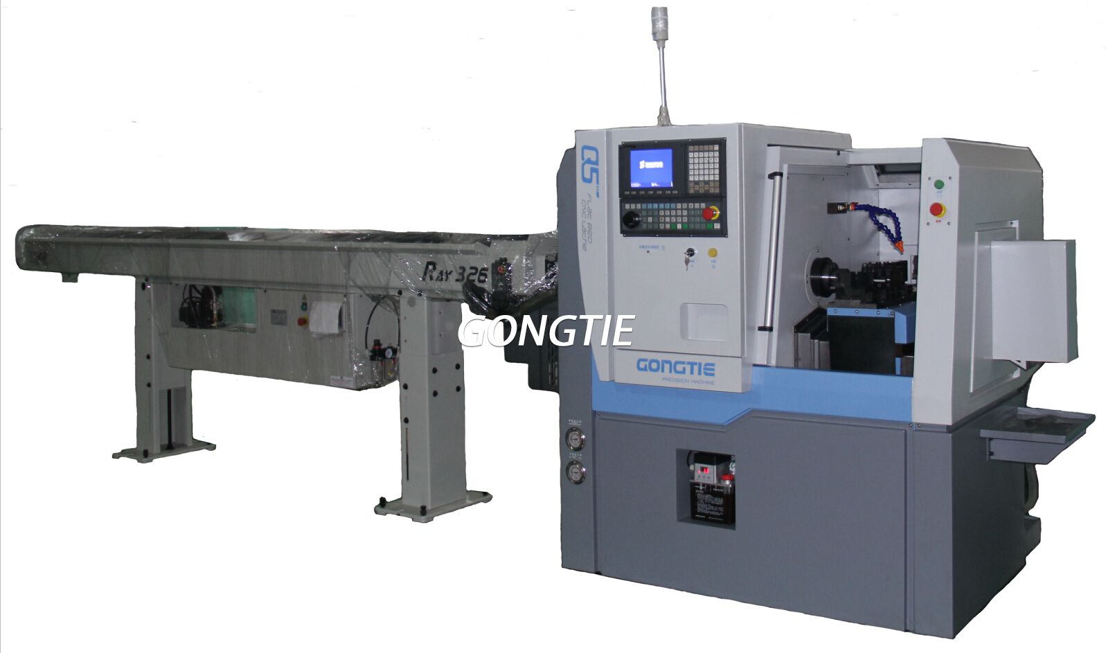 CNC lathe with bar feeder