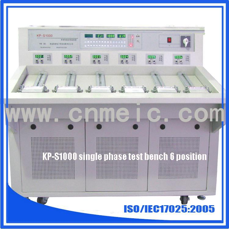 Single phase 6 position test system for energy meter calibration