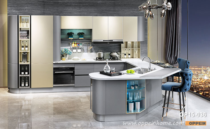 Modern Golden and Grey Lacquer Kitchen Cabinet OP15-036