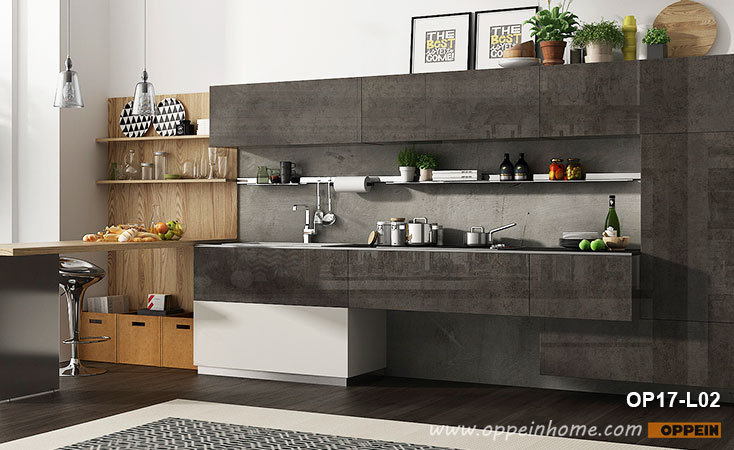 360cm Width Standard Kitchen Cabinet with UV Lacquer Finish OP17-L02