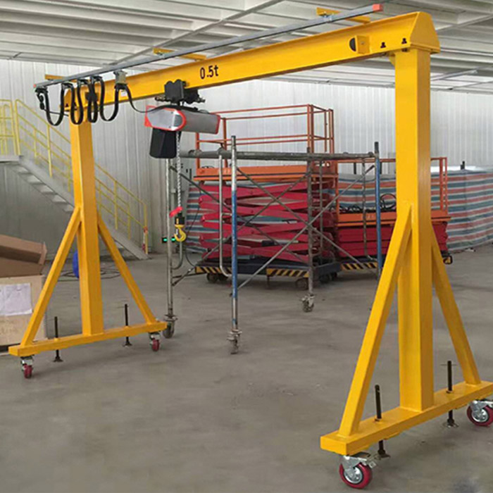 Portable gantry crane 2 ton small mobile gantry crane with electric chain hoist
