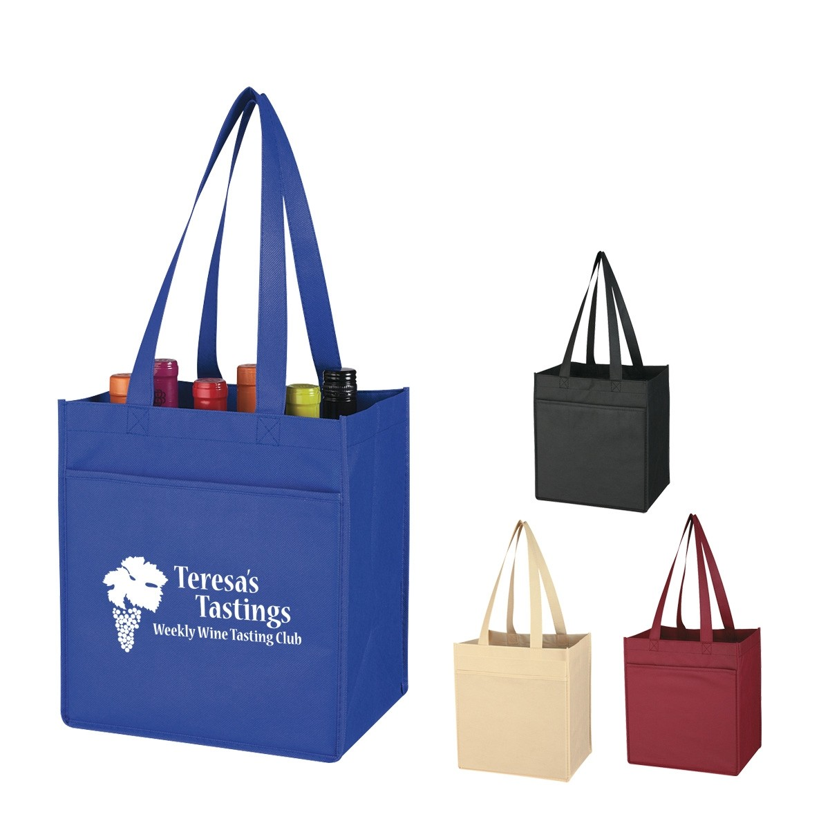 Promotional Non-Woven 6 Bottle Wine Tote Bag,Promotional Two Tone Shopping Tote Bags Supplier And Wholesaler