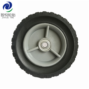 Hot sale rubber tires 6 inch solid rubber wheel for lawn mower wagon trolley power tiller wholesale