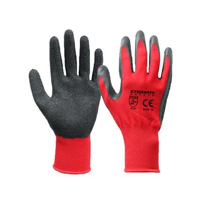 Red Polyester Latex Coated Gloves