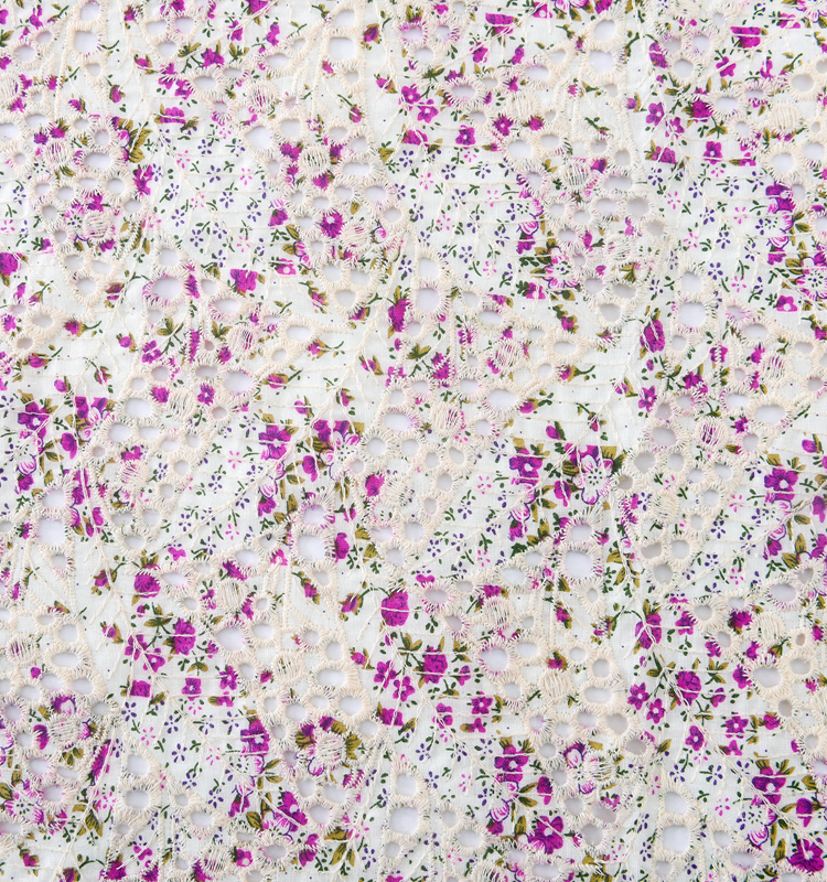 swiss eyelet embroidery fabric 100% cotton cord lace embroidered
