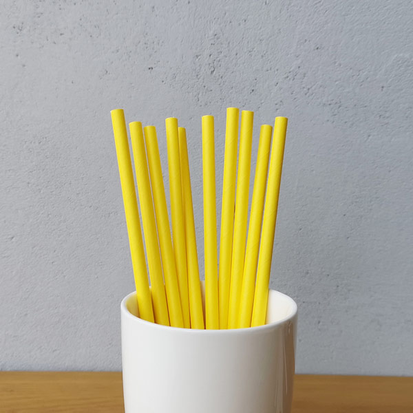 Yellow Solid Drinking Paper Straws