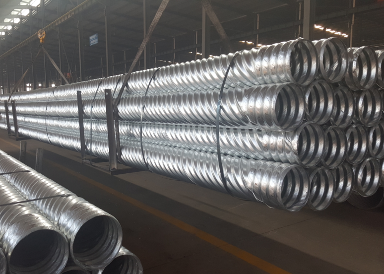 Helical corrugated steel pipe
