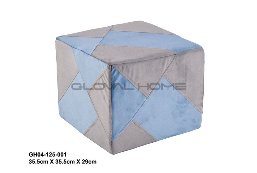 High quality printing bathroom linen grey kid square stool