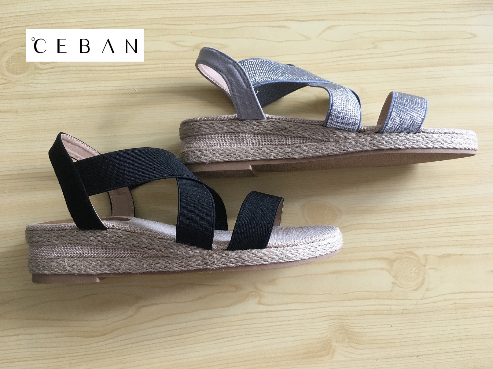 Elastic heel jute sandals made in China