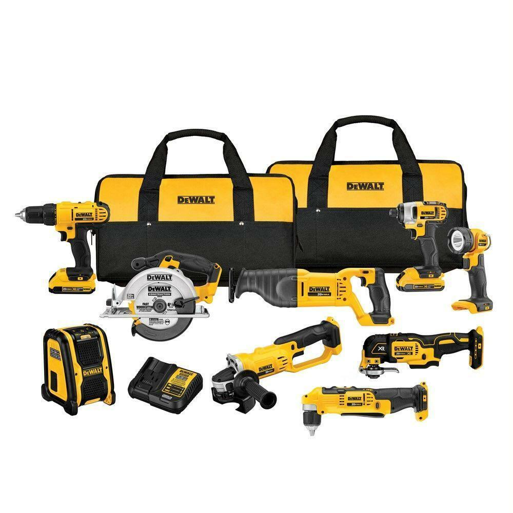 Dewalt DCK1020D2 20-Volt 10-Tool 2.0Ah Lithium-Ion Cordless Power Tool Combo Kit