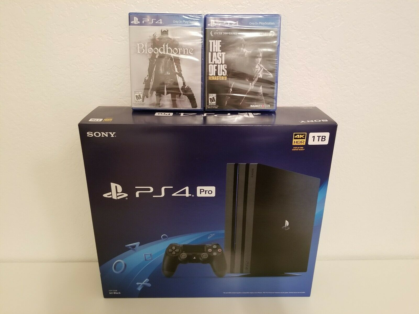 New Sony PlayStation 4 Ps4 pro 1TB Video Game Consoles + 15 GAMES & 2 wireless controllers