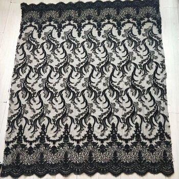 Black Beaded Lace Fabric