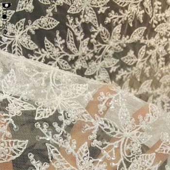 White Beaded Lace Fabric
