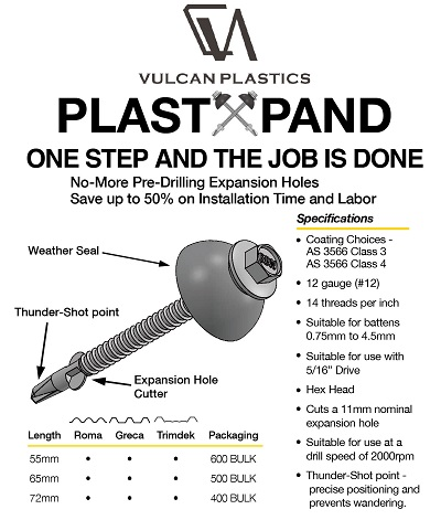 VULCAN PlastXpand Crest Fixing Fasteners