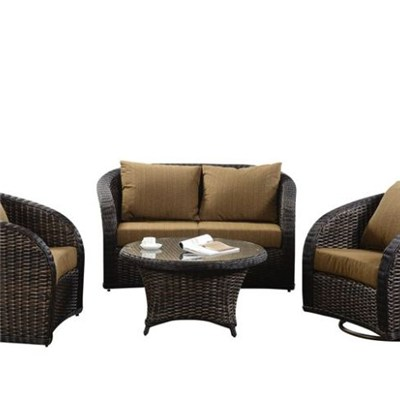 Outdoor Rock Swivel Rattan Chair