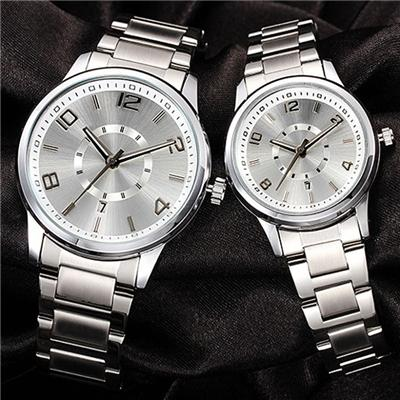 Metal Couple Watch With Calendar