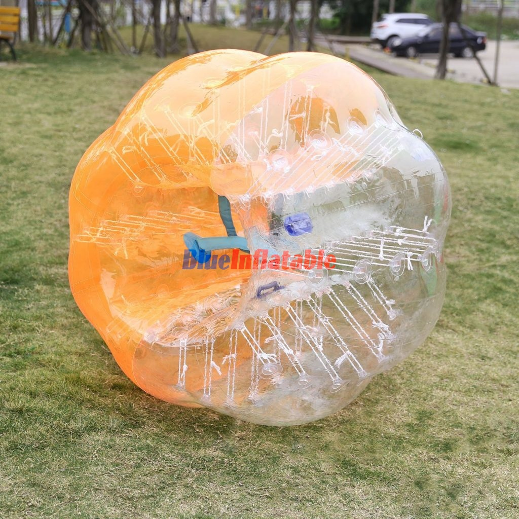 Half Orange and Half Clear Zorb Soccer Bubble Football Suit