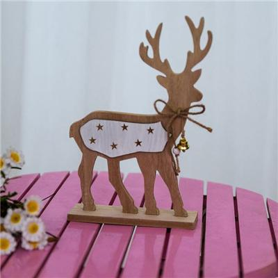Elk Printing Star Bell Wooden Christmas Decoration