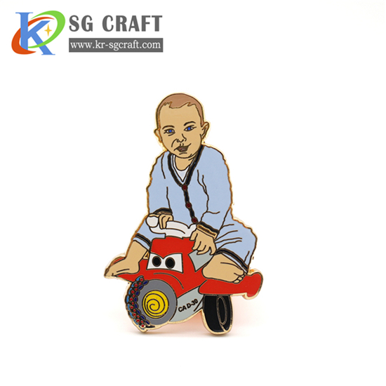 Custom cartoon character badge