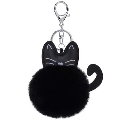 PU Cat Head POM POM Keychain