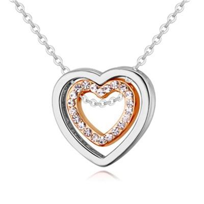 Crystal Double Heart Hollow-out Pendant Necklace