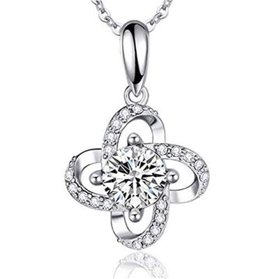 Women 925 Sterling Silver CZ Necklace