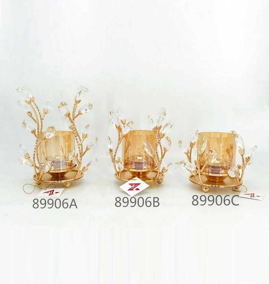 Europe Classical gold crystal candle holder for wedding decoration