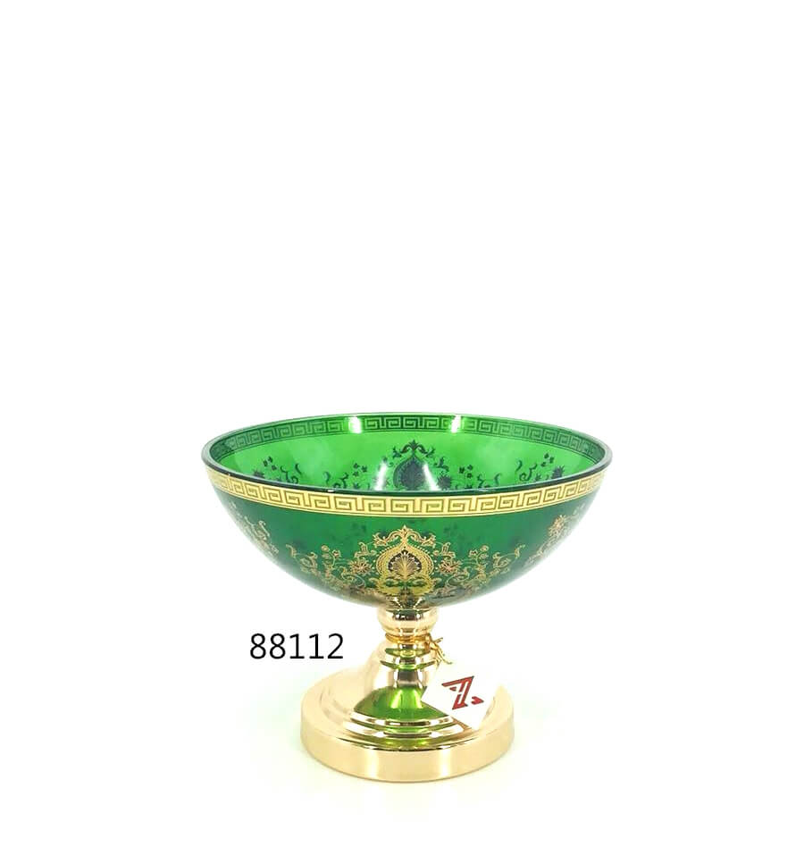 yellow glass fruit bowl with floral in china