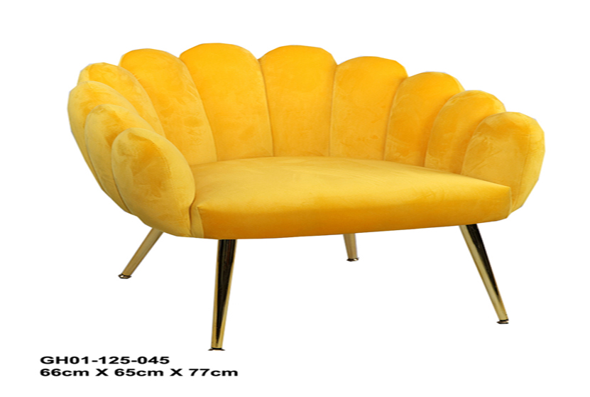 Modern Cafe Gold Metal Legs Upholstered Armchair Living Room Shell Shaped Chair