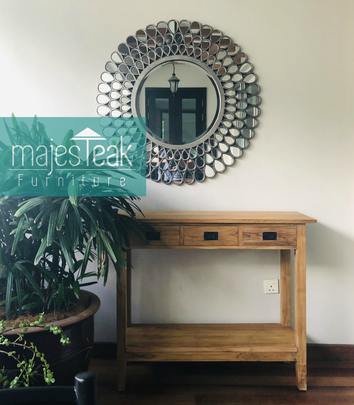 Teak Console Table 3 Drawer
