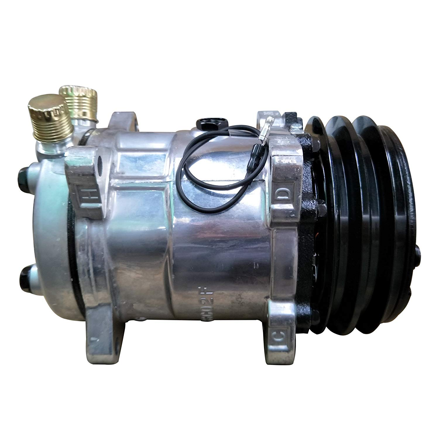 Universal AC Compressor with Black 2PK Clutch Sanden 508 5H14 R134A