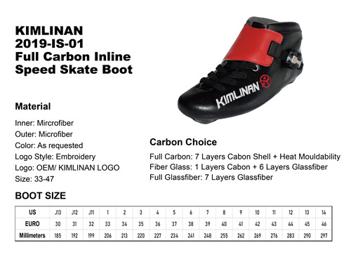 high quality KIMLINAN 2019-IS-01  Full Carbon Inline Speed Skate Boot