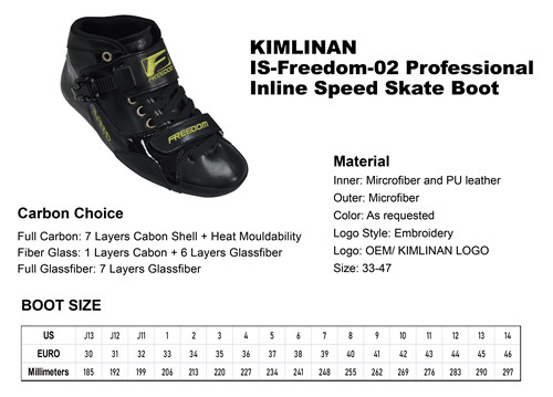new professional KIMLINAN IS-Freedom-02 Professional Inline Speed Skate Boot