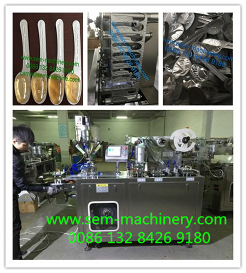 Automatic spoon shape honey chocolate blister packing machine