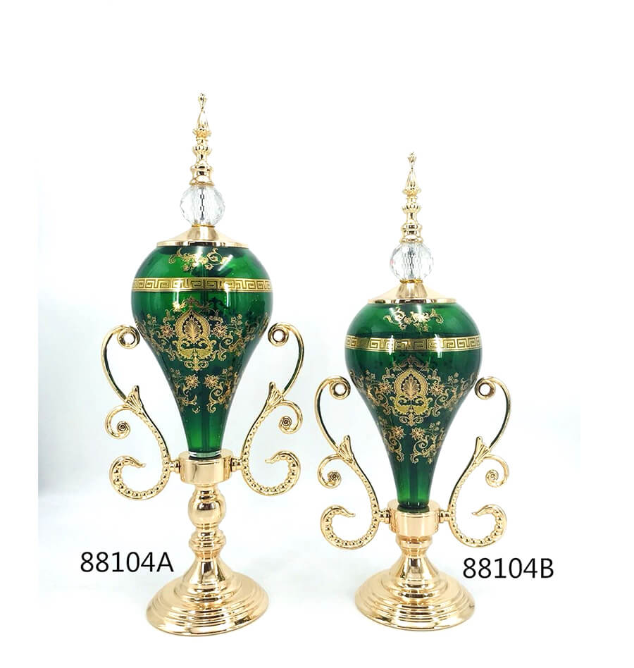 Household green ceramic candelabra decorating candle holders