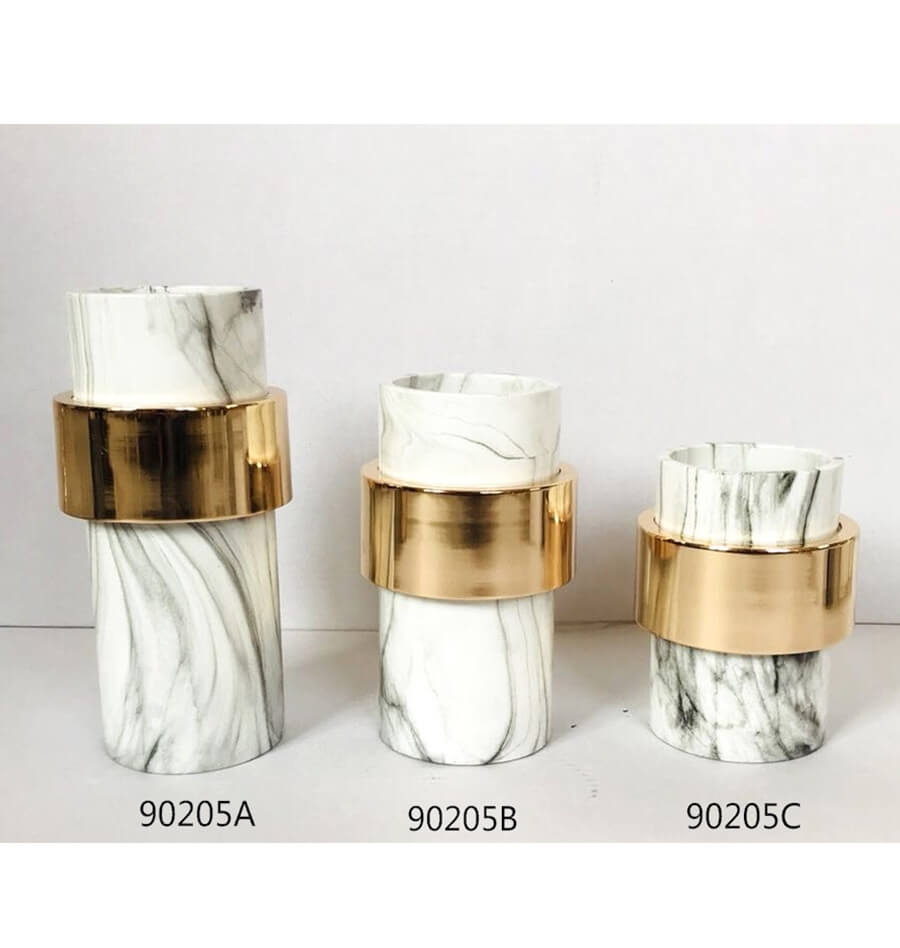 hot resin sale marble pattern english letter shape candle holder for home decoration