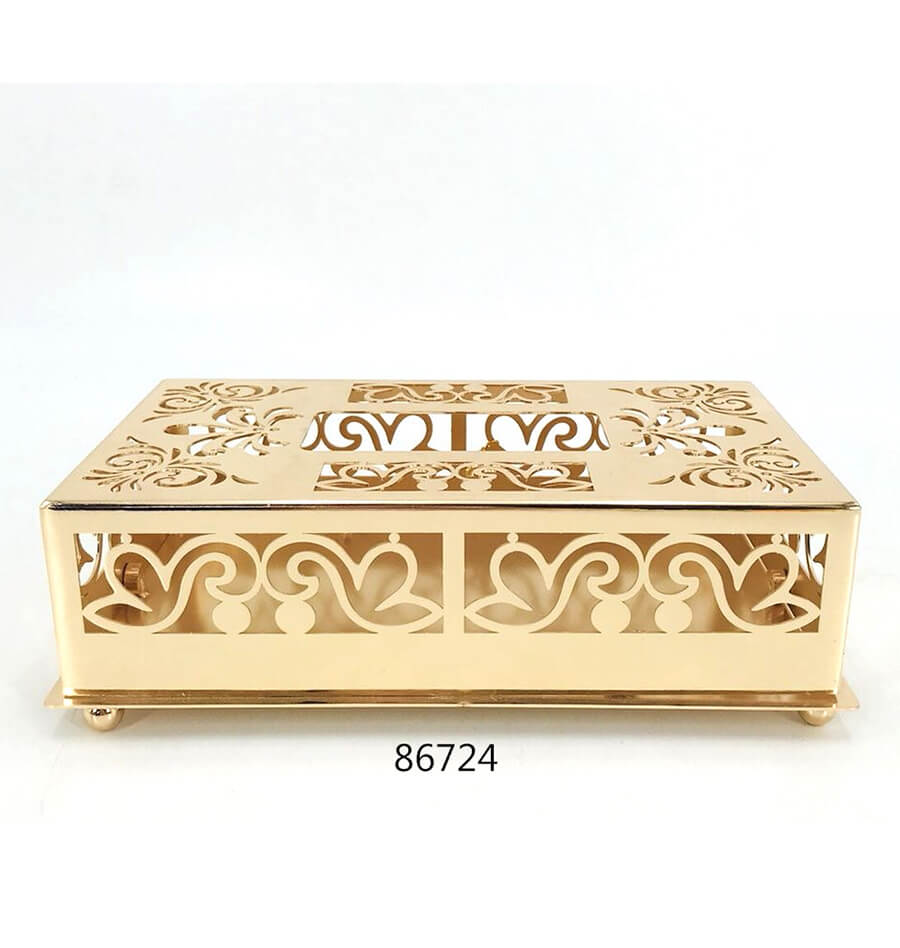 new design gold metal tissue box for home decorations