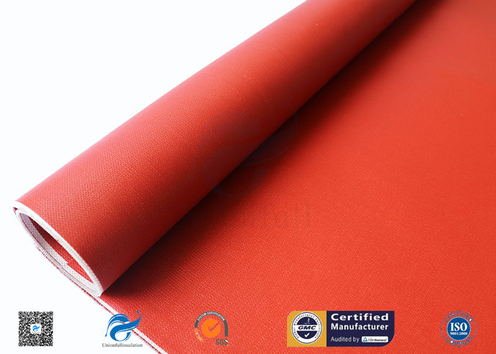 Red Silicone Coated Polyester Fabric Fire Barrier For Heat Resistant Insulation