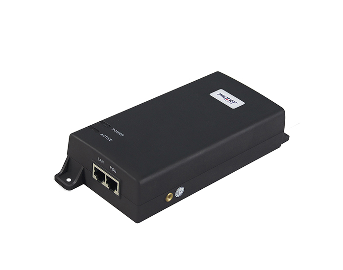 PT-PSE106GW-AR-D is a single port midspan Injector with 4 Pair PoE up to 60 watts of power at 55 VDC at 1.1 amp.