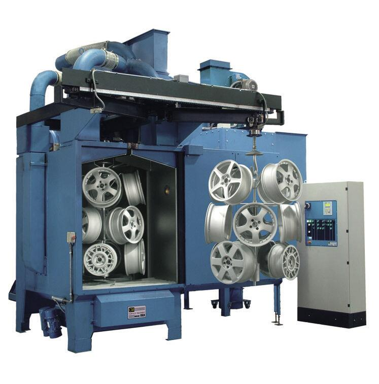 Hook Type Shot Blasting Machine, spare parts rust removing peening machine