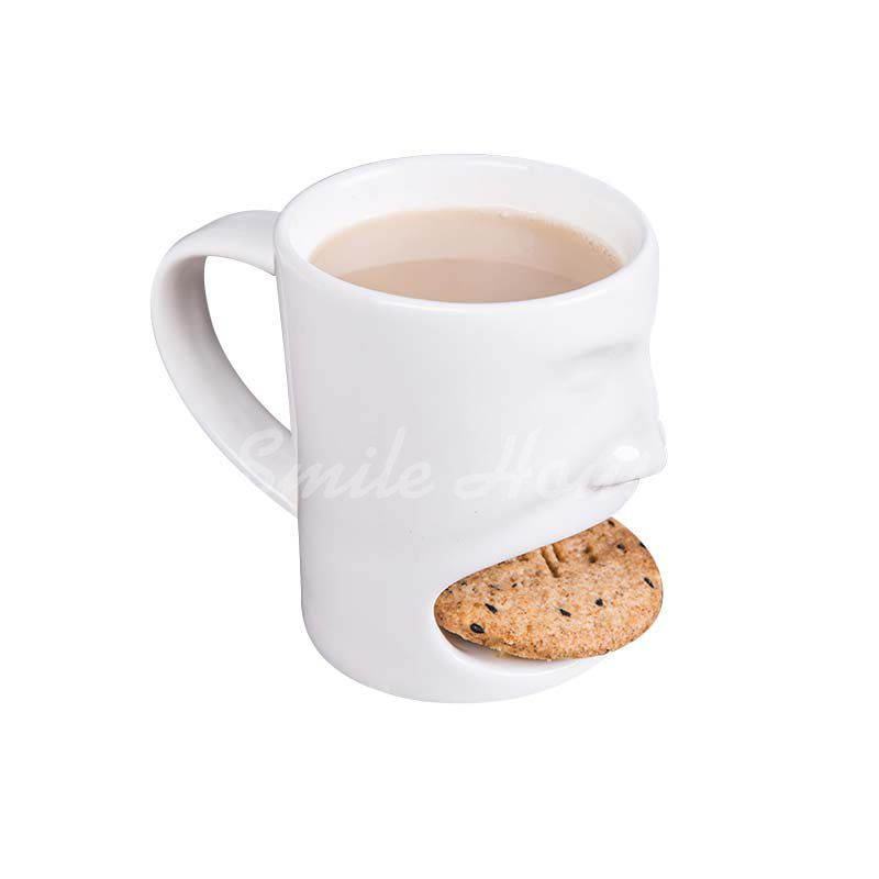 White Ceramic biscuit and milk mug with the handle
