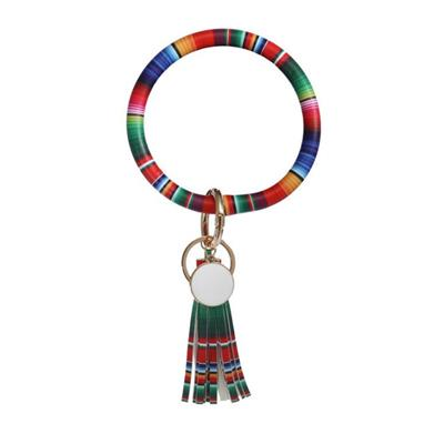 Rainbow Large Circle Key Ring Tassel Keychain