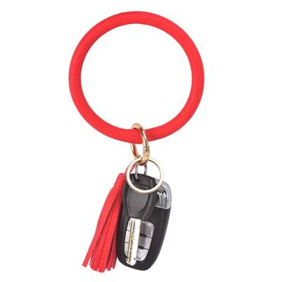 Red Leather Tassel Bracelet Wristlet Keychain