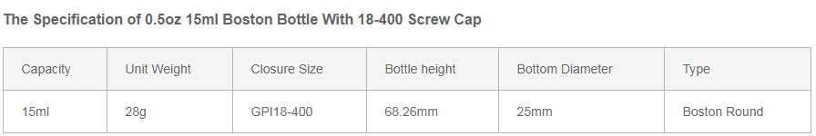 0.5oz 15ml Boston Bottle With 18-400 Screw Cap