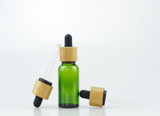 30ml Green Glass Bottle With 18-415 Bamboo TE&CRC Dropper Cap