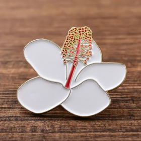 White Flower Soft Enamel Pins