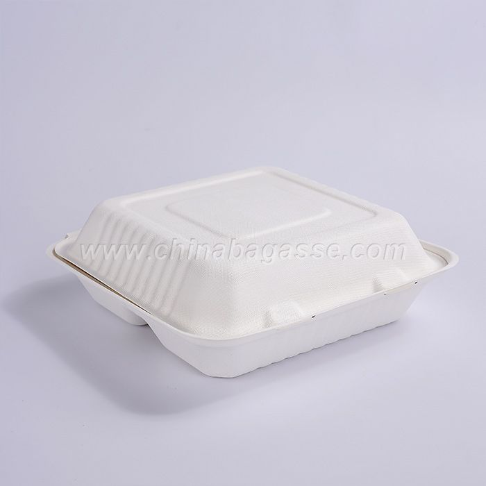 9 inch biodegradable 3 compartment sugarcane bagass clamshell food containers renewable lunch box